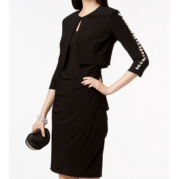 MSK Womens Pearl Embellished Sleeve Sheath Dress