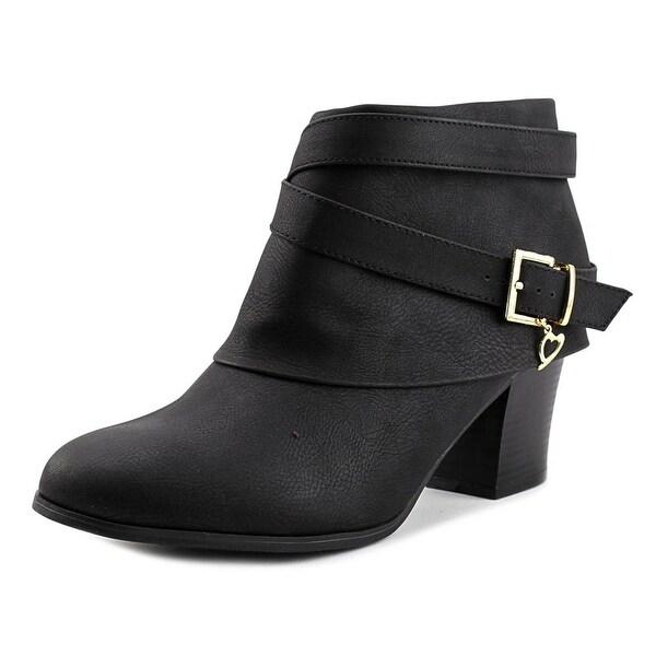 Thalia Sodi Tecap Women Round Toe Leather Black Ankle Boot