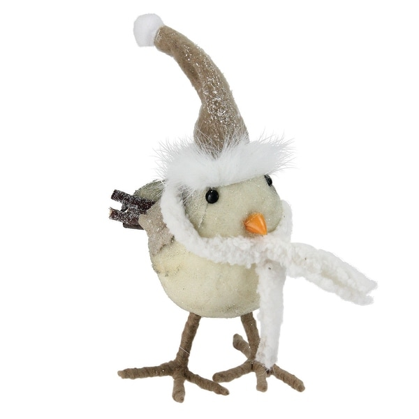 """9.5"""" Standing Bird in Scarf and Santa Hat Christmas Figure Decoration"""