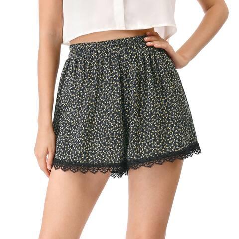 Women's Shorts Allover Floral Printed Lace Trim Hem Elastic Waist