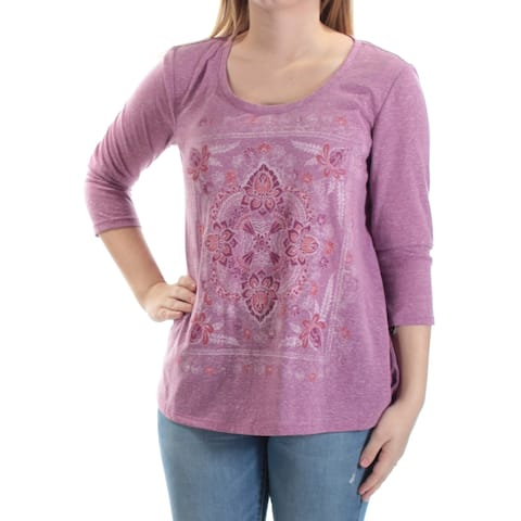STYLE & CO Womens Purple Floral 3/4 Sleeve Scoop Neck Top Size: S