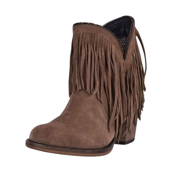 Dingo Fashion Boots Womens 6 inch Juju Cowboy Heel Suede Tan