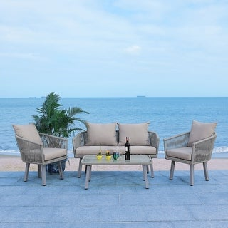Link to Safavieh Outdoor Belmi 4-piece Rope Patio Set Similar Items in Patio Furniture