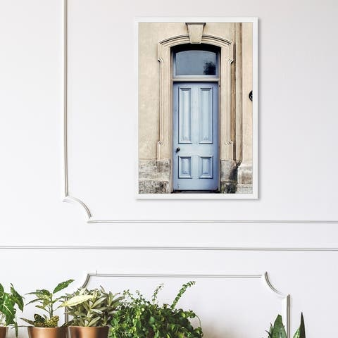 Oliver Gal 'The Lovely Blue Door' Architecture and Buildings Framed Wall Art Prints World Architecture - Blue, Brown