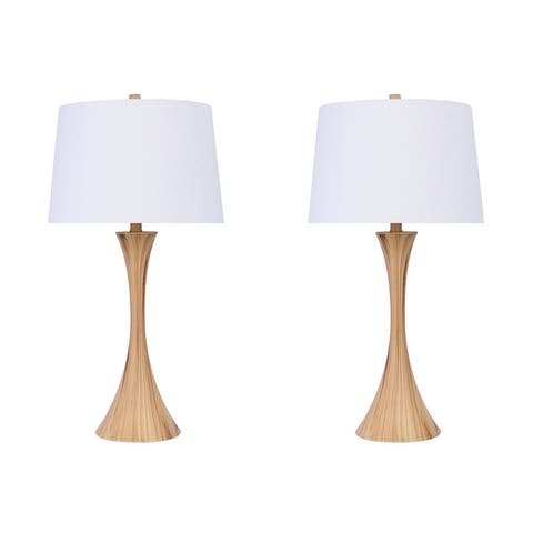 Copper Grove Alchevsk Brushed Nickel Table Lamps with Textured White Linen Drum Shades (Set of 2)