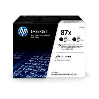 HP 87X Black Toner Cartridge - 2-Pack Cartridge|https://ak1.ostkcdn.com/images/products/is/images/direct/a7b0610280435a2bbd6bfa2eca6e9e9a389c93bb/HP-87X-2-pack-High-Yield-Black-Tone-Cartridge.jpg?impolicy=medium