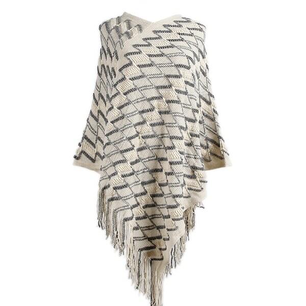 QZUnique Women's Rhombic Pattern Poncho Cape Shawl Wrap Sweater Cloak