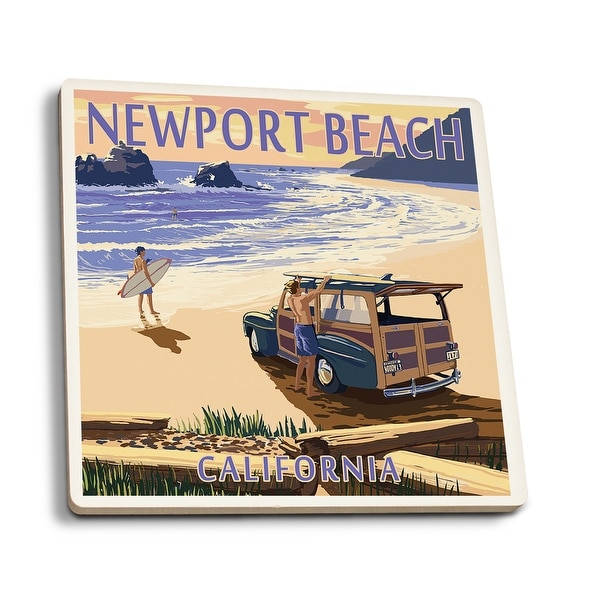 Newport Beach, CA - Woody on Beach - LP Artwork (Set of 4 Ceramic Coasters)