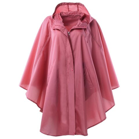 eff72902eccd QZUnique Women's Waterproof Packable Batwing-sleeved Raincoat Rain Poncho  Jacket Coat Hooded for Adults with
