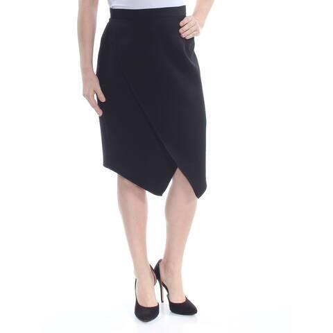 TAHARI Womens Black Faux Wrap Knee Length Pencil Wear To Work Skirt Petites Size: 14