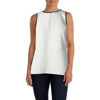 Lauren Ralph Lauren Womens Petites Pullover Top Sleeveless Contrast trim