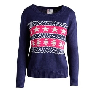 At Last Womens Pullover Sweater Fair Isle Long Sleeves - s
