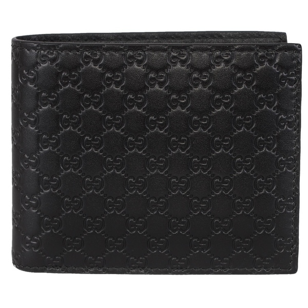 fd5b984825f Gucci Men  x27 s 260987 Black Leather MICRO GG Guccissima Bifold Wallet