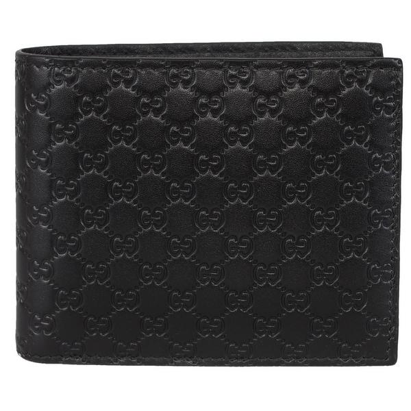 2016074ac30f Gucci Men's 260987 Black Leather MICRO GG Guccissima Bifold Wallet