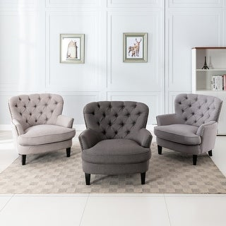 Link to Corvus Cervine Tufted Linen Oversized Accent Club Chair Similar Items in Living Room Chairs