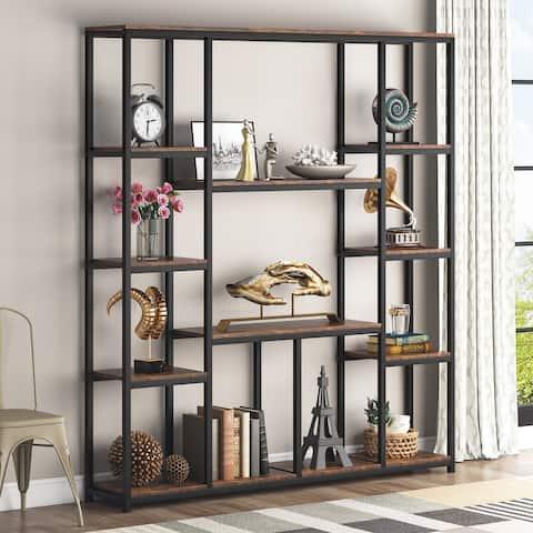 Tribesigns Industrial Bookshelf Bookcase, 12-Open Rustic Book Shelf