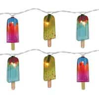 Set of 10 Summer Frozen Confection Novelty Christmas Lights - White Wire - multi