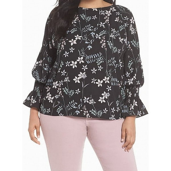 744a45bbf60e Shop Vince Camuto Black Womens Size 2X Floral Print Bell Sleeve Blouse -  Free Shipping Today - Overstock - 28305686