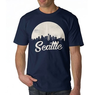 Seattle Cityscape Vintage Retro Graphic Men's Navy T-shirt
