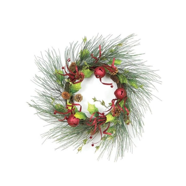 "21"" Christmas Brites Red & Green Jingle Bell Glitter Artificial Wreath - Unlit"