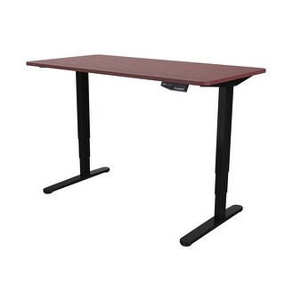 "Flexispot 55""H Electric Height Adjustable Desk Office Sit-Standing Workstation Mahogany Desktop"