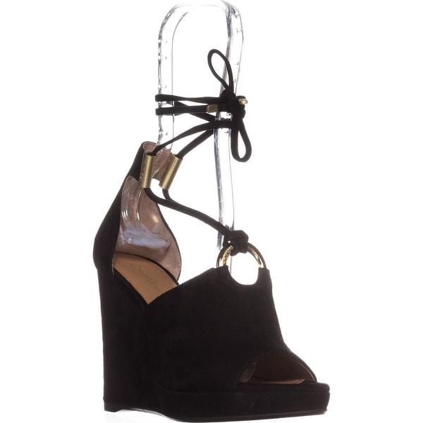 Calvin Klein Ramona T-Strap Wedge Sandals, Black Suede