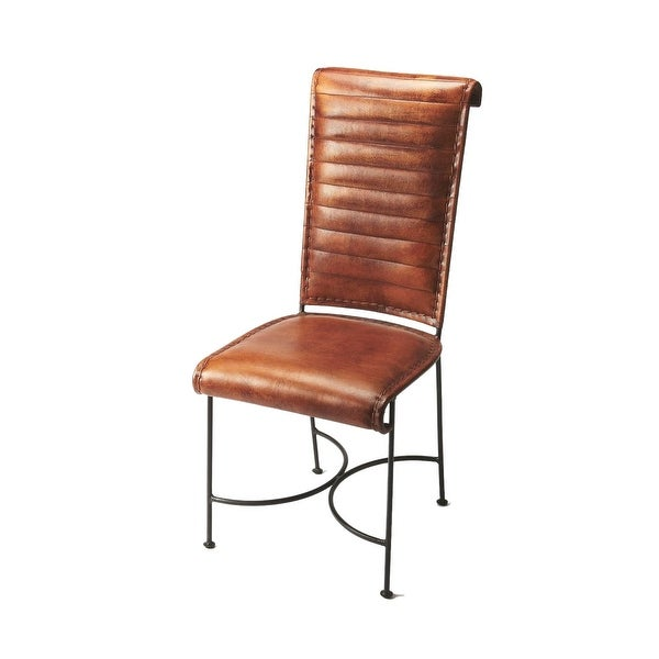 Transitional Distressed Iron and Leather Side Chair - Medium Brown