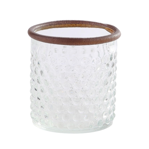 """5"""" Clear and Brown Textured Dot Pattern Cylindrical Glass Vase with Rim Leather - N/A"""