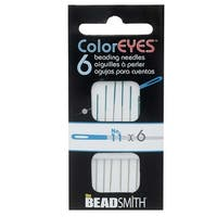 BeadSmith ColorEYES Beading Needles, Size 11, 1 Pack of 6, Blue