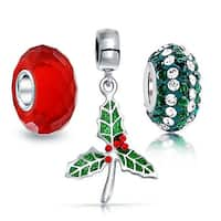Bling Jewelry Red Green Mistletoe 925 Silver Christmas Bead Charm Set