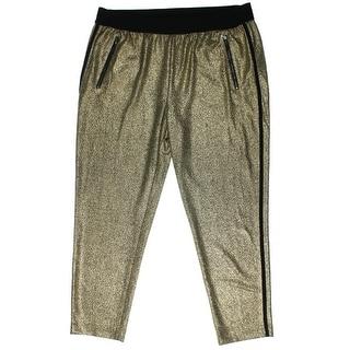 Kenneth Cole New York Womens Kim Foiled Elastic Waist Ankle Pants - L