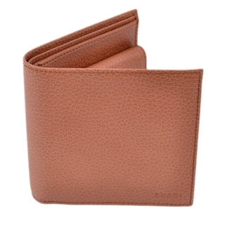 Gucci Men's 150413 Tan Pebbled Leather Coin Pocket Bifold Wallet