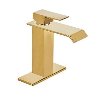 Vibrantbath Waterfall Spout Bathroom Sink Faucet Deck Mount Lavatory