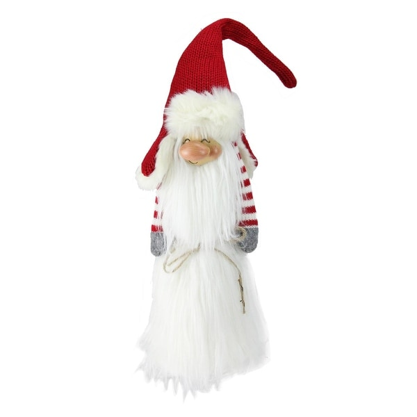 "24"" Traditional Christmas Slim Santa Gnome with White Fur Suit and Red Hat"