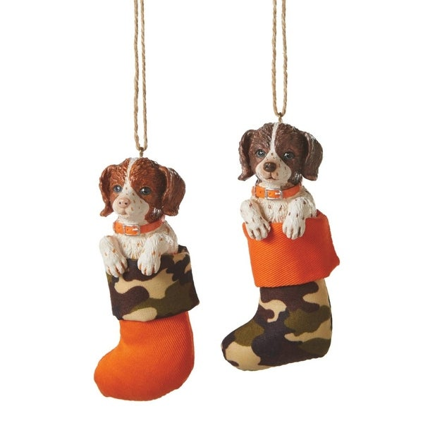 "4.5"" Brown Haired English Springer Spaniel Puppy Dog in Stocking Christmas Ornament"