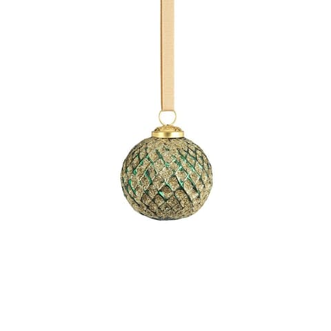 """3"""" Beehive Green with Gold Glitter Ball Ornaments, Set of 6"""
