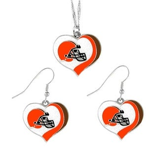 Cleveland Browns NFL Glitter Heart Necklace and Earring Set Charm Gift