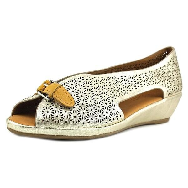 Gentle Souls Lanner Women Open Toe Leather Gold Wedge Sandal