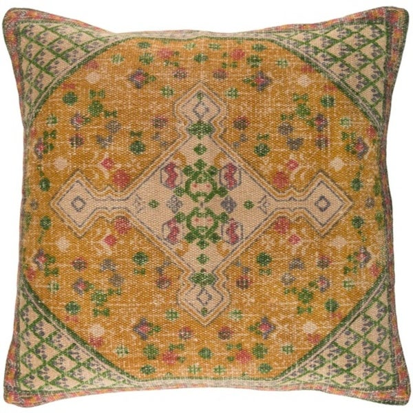 "22"" Town Square Taupe Brown, Mustard Yellow and Cactus Green Decorative Square Throw Pillow"