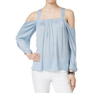 Vince Camuto Womens Blouse Sateen Cold Shoulder