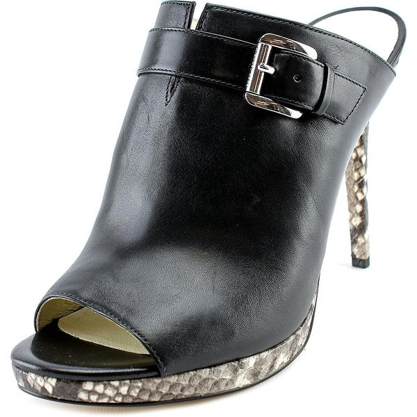 Michael Michael Kors Isabella Mule Women Peep-Toe Leather Black Mules