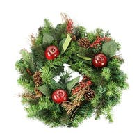 "24"" Red Country Apple, Twig and Berry Artificial Christmas Wreath - Unlit - green"