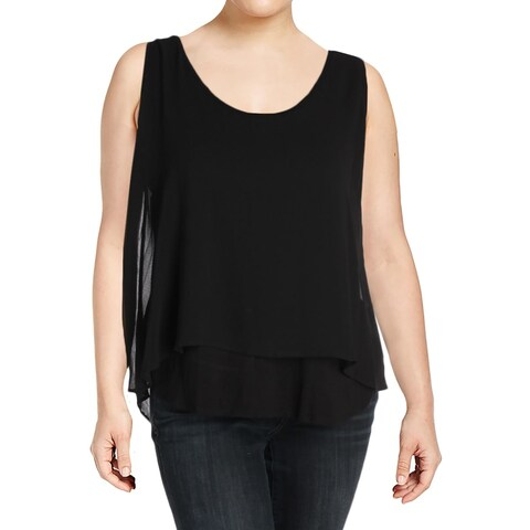 Bobeau Womens Lily Casual Top Sheer Pleat Back - xL