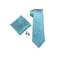 Men's Blue Paisley 100% Silk Neck Tie Set Cufflinks & Hanky 18532 - regular