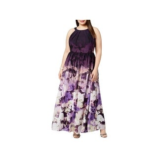 Betsy & Adam Womens Plus Evening Dress Chiffon Floral Print