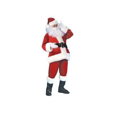 Fun World Christmas Santa Suit Red/White Velvet 1 pk