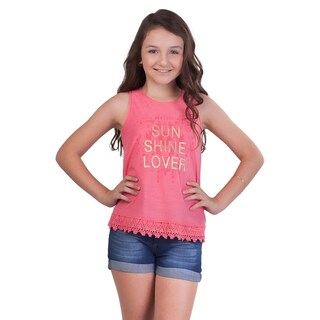 Pulla Bulla Big Girl Lace Tank Top Teen Graphic Sleeveless Tee (More options available)