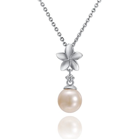 "Plumeria Pearl Necklace Sterling Silver Pendant 18"" Chain"