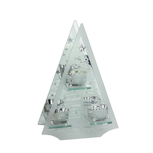 "10"" Frosted Glass Mirrored Christmas Tree Tea Light Candle Holder"