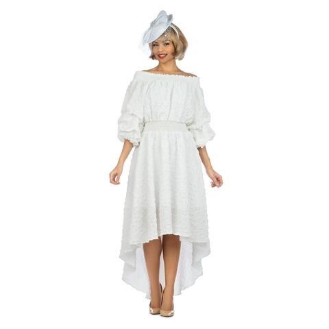 Giovanna Signature 1pc Off Shoulder Popcorn Fabric Hi-Lo Dress